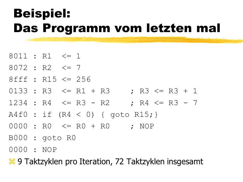 Beispiel: Das Programm vom letzten mal 8011 : R1 <= 1 8072 : R2 <= 7 8fff : R15 <= 256 0133 : R3 <= R1 + R3; R3 <= R3 + 1 1234 : R4 <= R3 - R2 ; R4 <= R3 - 7 A4f0 : if (R4 < 0) { goto R15;} 0000 : R0 <= R0 + R0; NOP B000 : goto R0 0000 : NOP z9 Taktzyklen pro Iteration, 72 Taktzyklen insgesamt