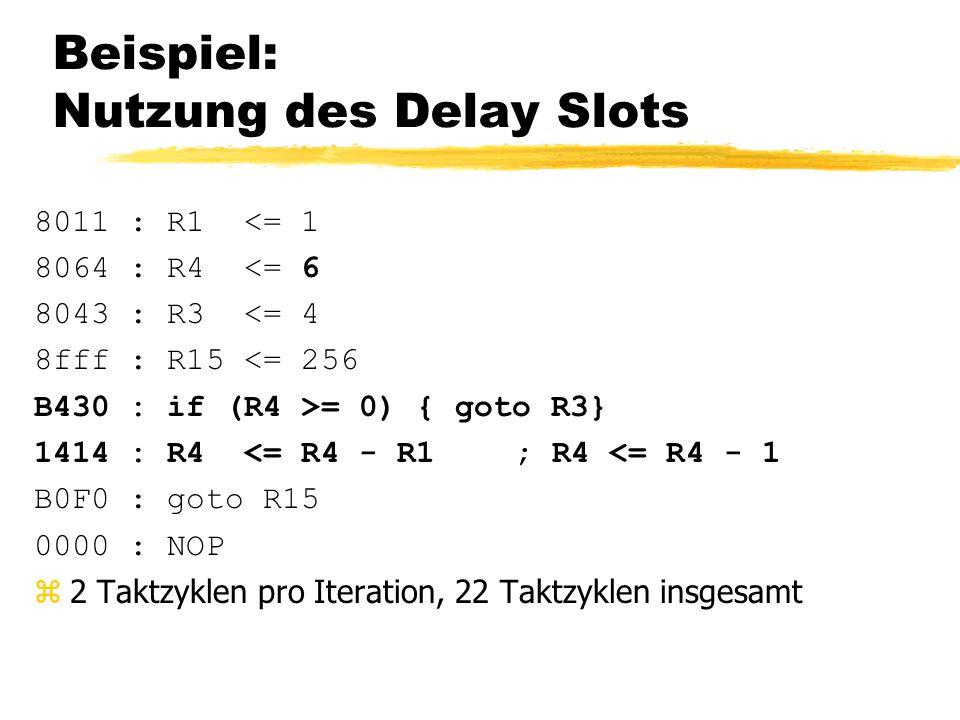 Beispiel: Nutzung des Delay Slots 8011 : R1 <= 1 8064 : R4 <= 6 8043 : R3 <= 4 8fff : R15 <= 256 B430 : if (R4 >= 0) { goto R3} 1414 : R4 <= R4 - R1; R4 <= R4 - 1 B0F0 : goto R15 0000 : NOP z2 Taktzyklen pro Iteration, 22 Taktzyklen insgesamt