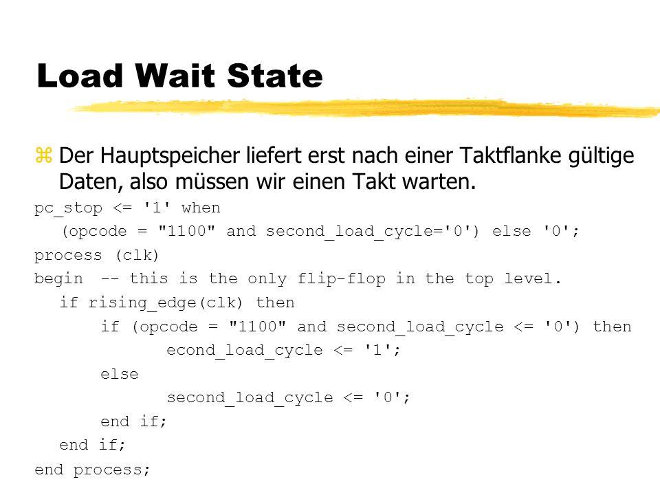 Load Wait State zDer Hauptspeicher liefert erst nach einer Taktflanke gültige Daten, also müssen wir einen Takt warten.