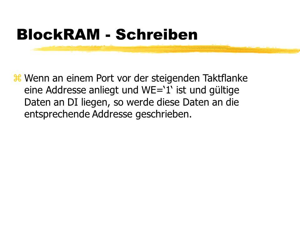 BlockRAM - Schreiben zWenn an einem Port vor der steigenden Taktflanke eine Addresse anliegt und WE='1' ist und gültige Daten an DI liegen, so werde diese Daten an die entsprechende Addresse geschrieben.