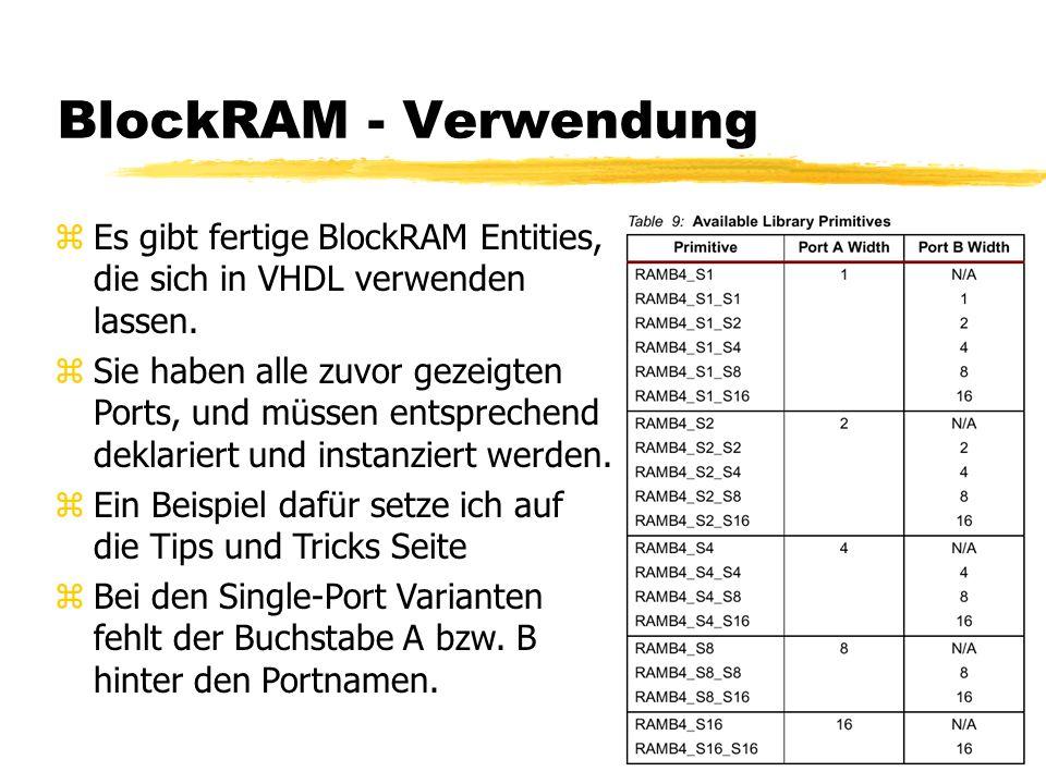BlockRAM - Verwendung zEs gibt fertige BlockRAM Entities, die sich in VHDL verwenden lassen.