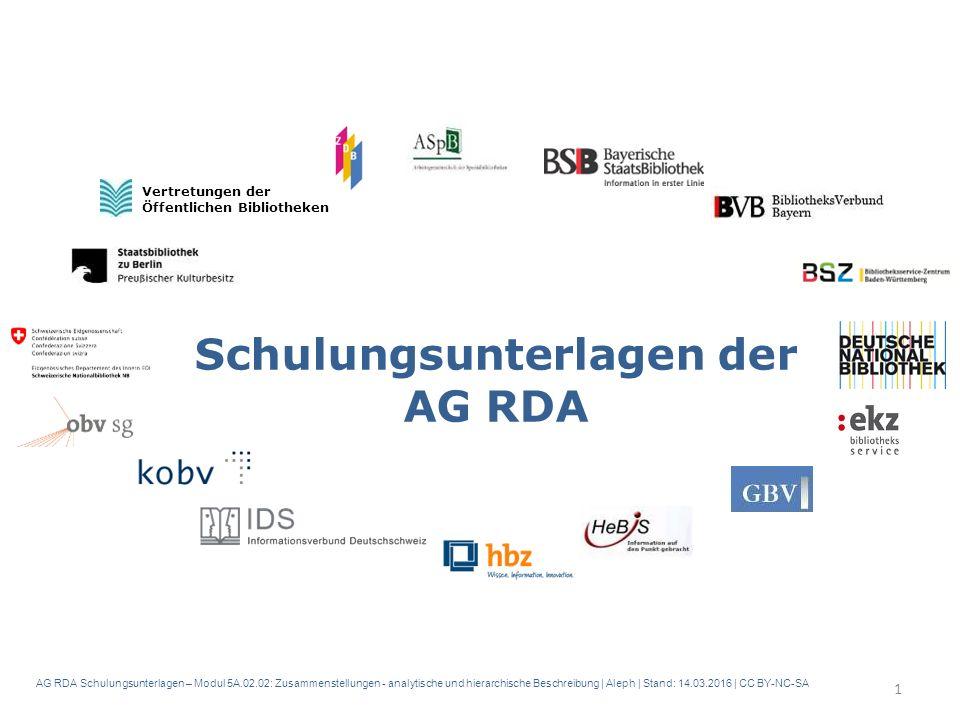 AG RDA Schulungsunterlagen – Modul 5A.02.02: Zusammenstellungen - analytische und hierarchische Beschreibung | Aleph | Stand: 14.03.2016 | CC BY-NC-SA Schulungsunterlagen der AG RDA Vertretungen der Öffentlichen Bibliotheken 1