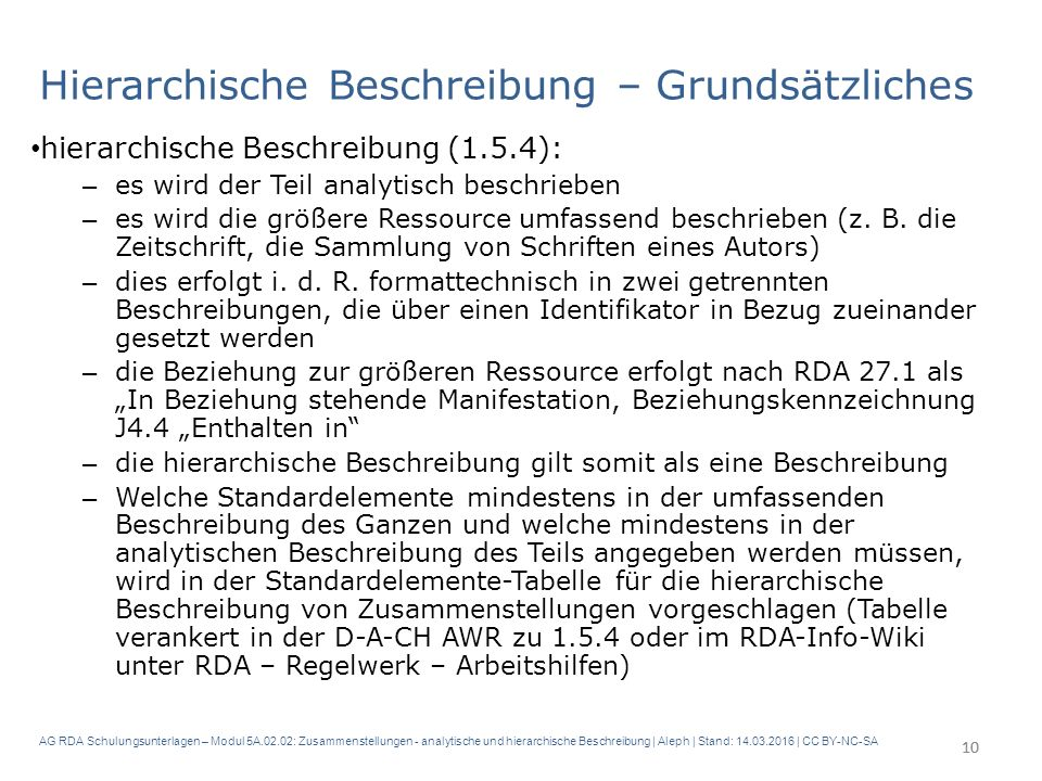 AG RDA Schulungsunterlagen – Modul 5A.02.02: Zusammenstellungen - analytische und hierarchische Beschreibung | Aleph | Stand: 14.03.2016 | CC BY-NC-SA Hierarchische Beschreibung – Grundsätzliches hierarchische Beschreibung (1.5.4): – es wird der Teil analytisch beschrieben – es wird die größere Ressource umfassend beschrieben (z.