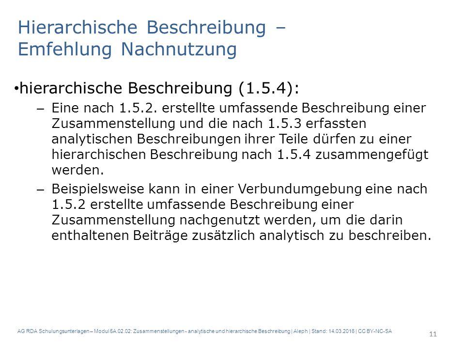 AG RDA Schulungsunterlagen – Modul 5A.02.02: Zusammenstellungen - analytische und hierarchische Beschreibung | Aleph | Stand: 14.03.2016 | CC BY-NC-SA Hierarchische Beschreibung – Emfehlung Nachnutzung hierarchische Beschreibung (1.5.4): – Eine nach 1.5.2.