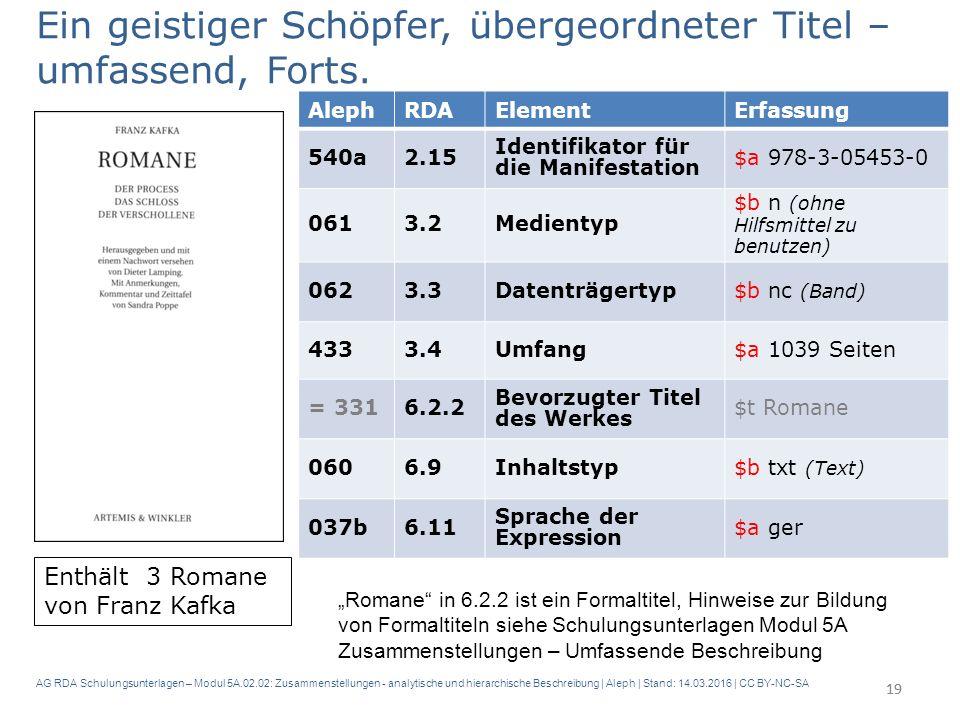 AG RDA Schulungsunterlagen – Modul 5A.02.02: Zusammenstellungen - analytische und hierarchische Beschreibung | Aleph | Stand: 14.03.2016 | CC BY-NC-SA 19 Ein geistiger Schöpfer, übergeordneter Titel – umfassend, Forts.