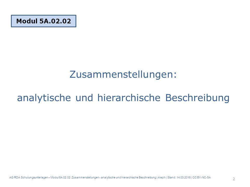 AG RDA Schulungsunterlagen – Modul 5A.02.02: Zusammenstellungen - analytische und hierarchische Beschreibung | Aleph | Stand: 14.03.2016 | CC BY-NC-SA Zusammenstellungen: analytische und hierarchische Beschreibung Modul 5A.02.02 2