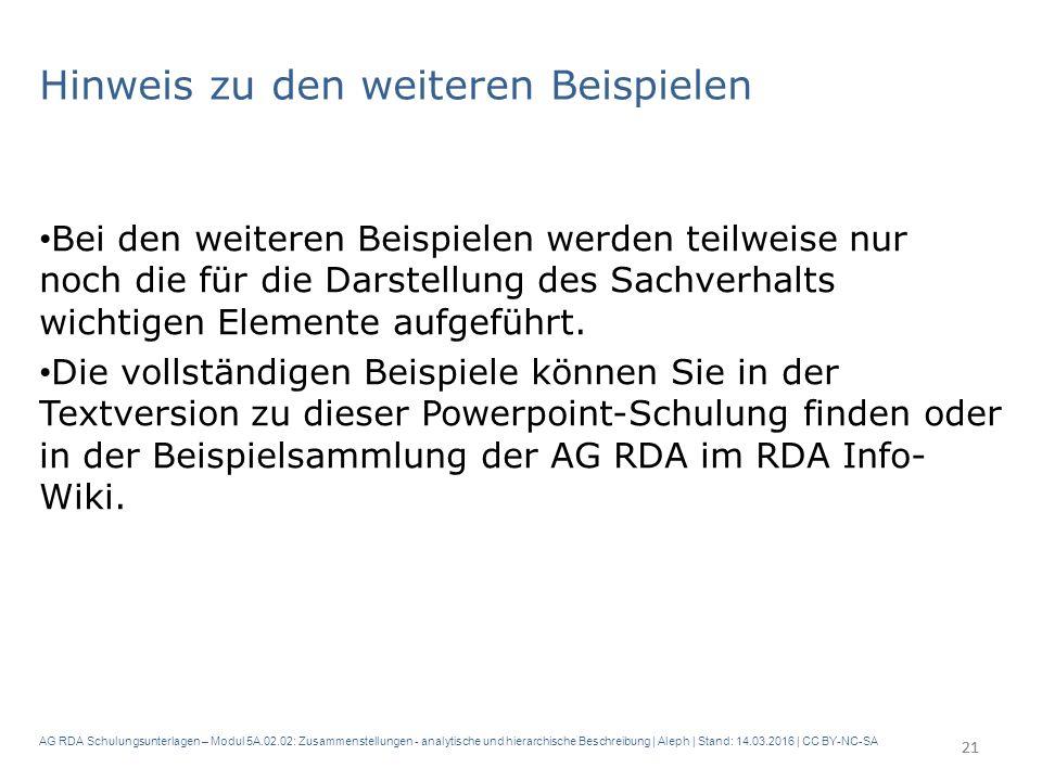 AG RDA Schulungsunterlagen – Modul 5A.02.02: Zusammenstellungen - analytische und hierarchische Beschreibung | Aleph | Stand: 14.03.2016 | CC BY-NC-SA Hinweis zu den weiteren Beispielen Bei den weiteren Beispielen werden teilweise nur noch die für die Darstellung des Sachverhalts wichtigen Elemente aufgeführt.