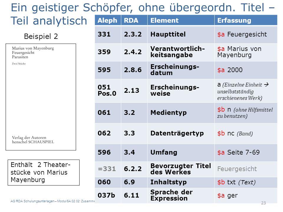 AG RDA Schulungsunterlagen – Modul 5A.02.02: Zusammenstellungen - analytische und hierarchische Beschreibung | Aleph | Stand: 14.03.2016 | CC BY-NC-SA 23 Enthält 2 Theater- stücke von Marius Mayenburg Ein geistiger Schöpfer, ohne übergeordn.