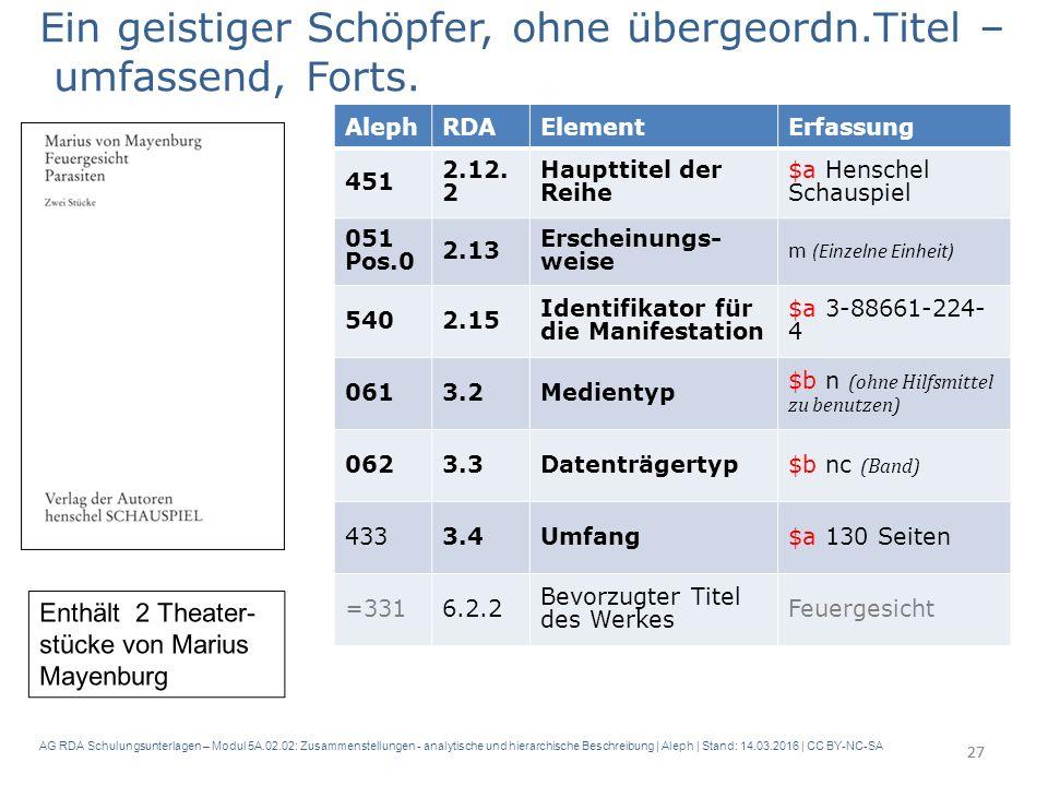 AG RDA Schulungsunterlagen – Modul 5A.02.02: Zusammenstellungen - analytische und hierarchische Beschreibung | Aleph | Stand: 14.03.2016 | CC BY-NC-SA 27 Ein geistiger Schöpfer, ohne übergeordn.Titel – umfassend, Forts.