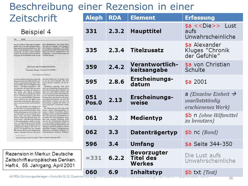 AG RDA Schulungsunterlagen – Modul 5A.02.02: Zusammenstellungen - analytische und hierarchische Beschreibung | Aleph | Stand: 14.03.2016 | CC BY-NC-SA 36 Beschreibung einer Rezension in einer Zeitschrift Beispiel 4 Rezension in Merkur.