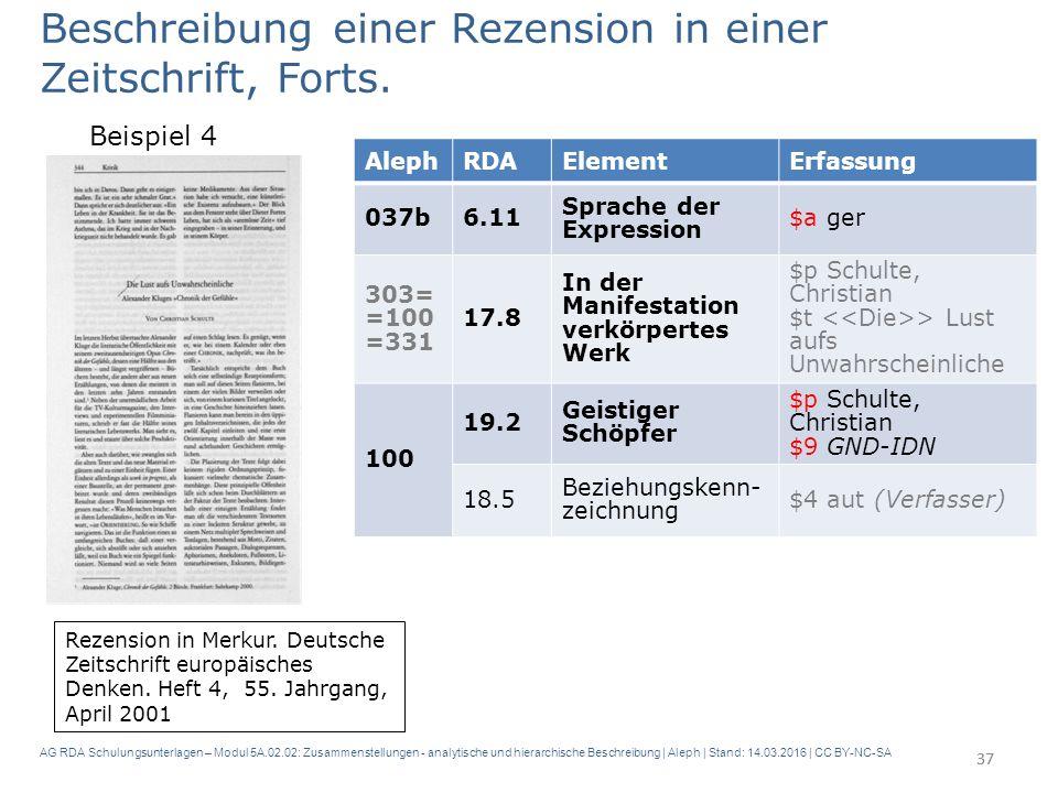 AG RDA Schulungsunterlagen – Modul 5A.02.02: Zusammenstellungen - analytische und hierarchische Beschreibung | Aleph | Stand: 14.03.2016 | CC BY-NC-SA 37 Beschreibung einer Rezension in einer Zeitschrift, Forts.