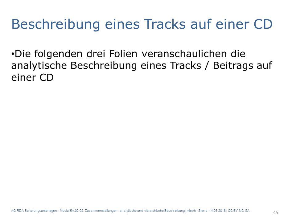 AG RDA Schulungsunterlagen – Modul 5A.02.02: Zusammenstellungen - analytische und hierarchische Beschreibung | Aleph | Stand: 14.03.2016 | CC BY-NC-SA Beschreibung eines Tracks auf einer CD Die folgenden drei Folien veranschaulichen die analytische Beschreibung eines Tracks / Beitrags auf einer CD 45