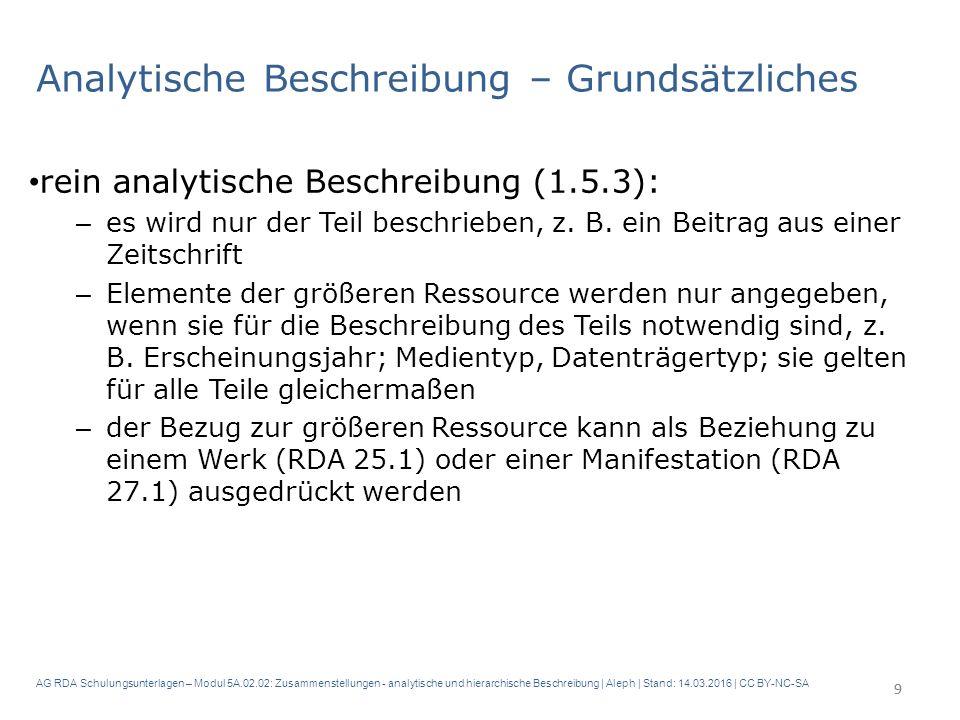 AG RDA Schulungsunterlagen – Modul 5A.02.02: Zusammenstellungen - analytische und hierarchische Beschreibung | Aleph | Stand: 14.03.2016 | CC BY-NC-SA Analytische Beschreibung – Grundsätzliches rein analytische Beschreibung (1.5.3): – es wird nur der Teil beschrieben, z.