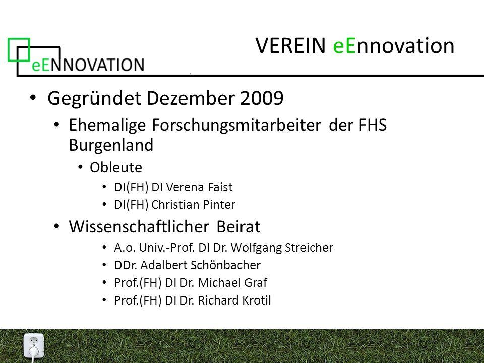 VEREIN eEnnovation Gegründet Dezember 2009 Ehemalige Forschungsmitarbeiter der FHS Burgenland Obleute DI(FH) DI Verena Faist DI(FH) Christian Pinter Wissenschaftlicher Beirat A.o.