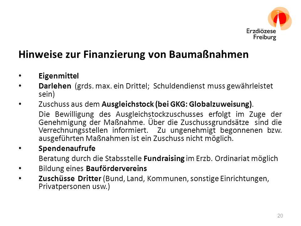 Hinweise zur Finanzierung von Baumaßnahmen Eigenmittel Darlehen (grds.