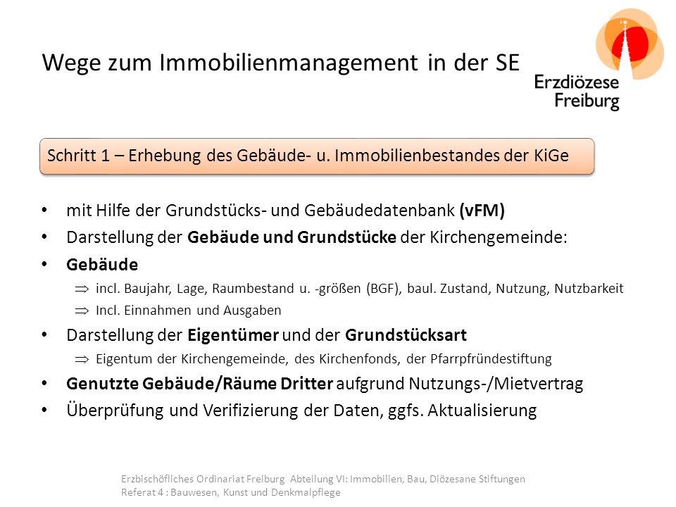 Wege zum Immobilienmanagement in der SE mit Hilfe der Grundstücks- und Gebäudedatenbank (vFM) Darstellung der Gebäude und Grundstücke der Kirchengemeinde: Gebäude  incl.