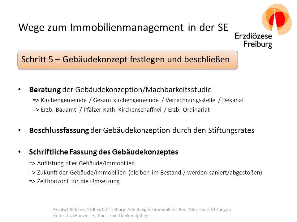 Wege zum Immobilienmanagement in der SE Beratung der Gebäudekonzeption/Machbarkeitsstudie => Kirchengemeinde / Gesamtkirchengemeinde / Verrechnungsstelle / Dekanat => Erzb.