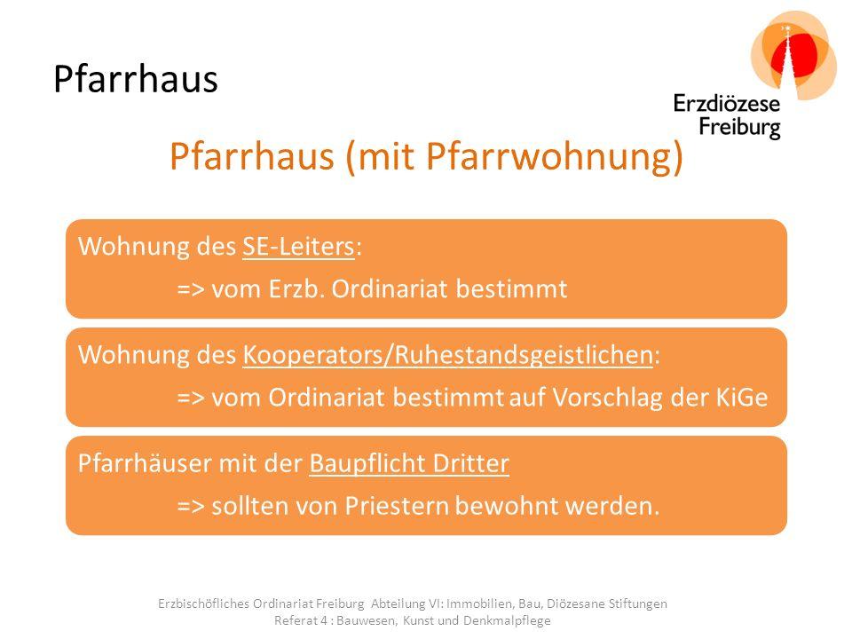Pfarrhaus Pfarrhaus (mit Pfarrwohnung) Wohnung des SE-Leiters: => vom Erzb.