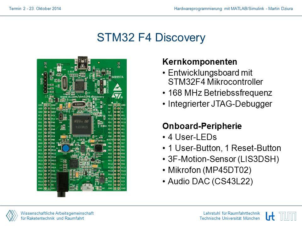 Wissenschaftliche Arbeitsgemeinschaft für Raketentechnik und Raumfahrt Lehrstuhl für Raumfahrttechnik Technische Universität München STM32 F4 Discovery Kernkomponenten Entwicklungsboard mit STM32F4 Mikrocontroller 168 MHz Betriebssfrequenz Integrierter JTAG-Debugger Onboard-Peripherie 4 User-LEDs 1 User-Button, 1 Reset-Button 3F-Motion-Sensor (LIS3DSH) Mikrofon (MP45DT02) Audio DAC (CS43L22) Termin 2 - 23.