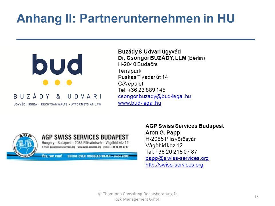 Anhang II: Partnerunternehmen in HU ___________________________________ Buzády & Udvari ügyvéd Dr.
