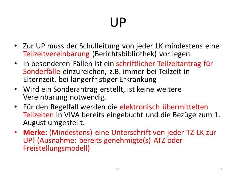 UP Zur UP muss der Schulleitung von jeder LK mindestens eine Teilzeitvereinbarung (Berichtsbibliothek) vorliegen.