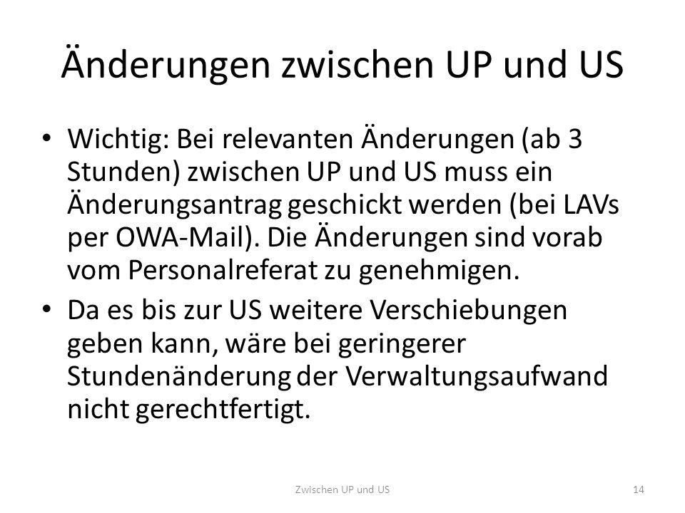 Änderungen zwischen UP und US Wichtig: Bei relevanten Änderungen (ab 3 Stunden) zwischen UP und US muss ein Änderungsantrag geschickt werden (bei LAVs per OWA-Mail).