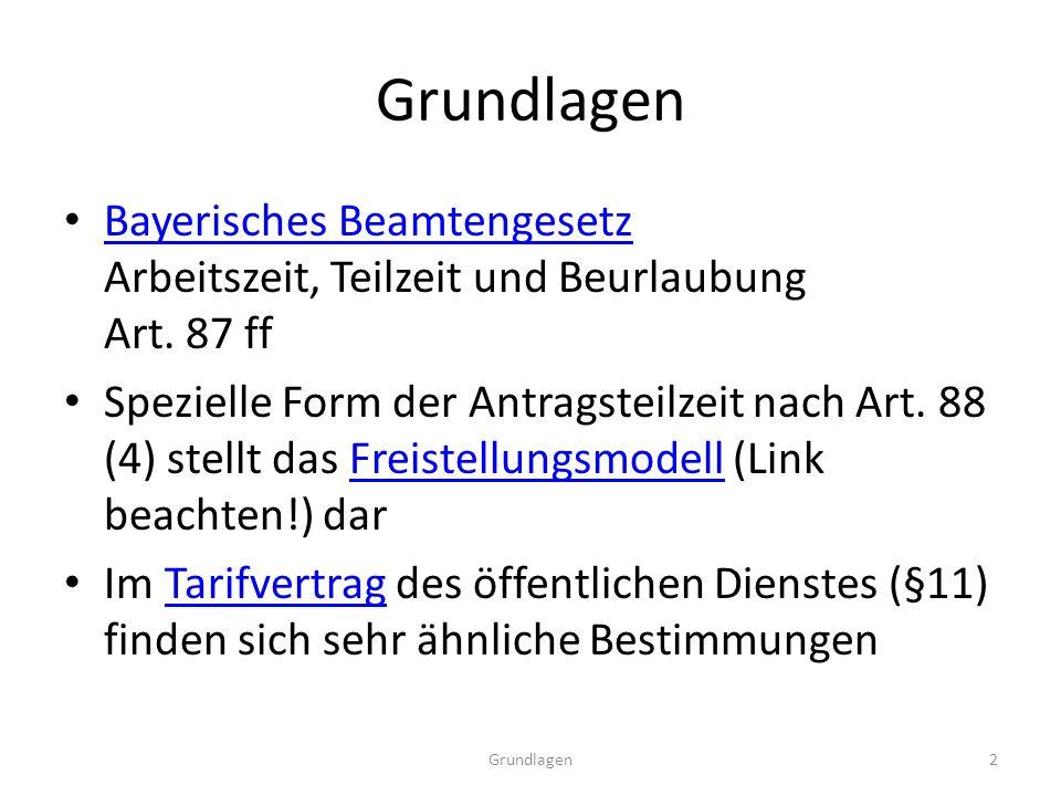 Grundlagen Bayerisches Beamtengesetz Arbeitszeit, Teilzeit und Beurlaubung Art.