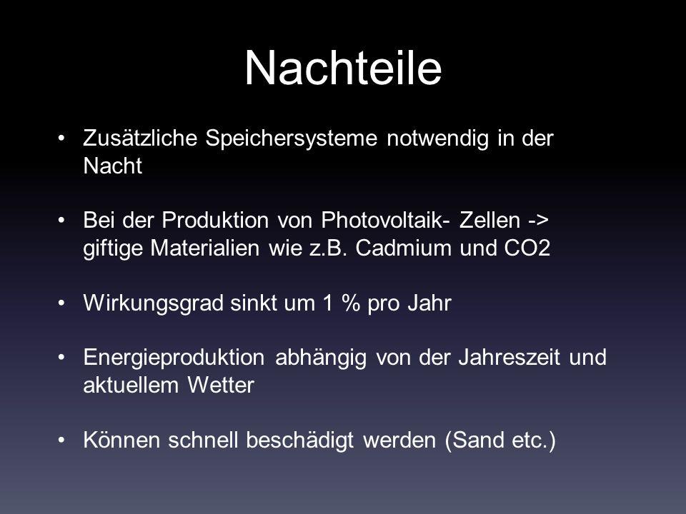 Nachteile Zusätzliche Speichersysteme notwendig in der Nacht Bei der Produktion von Photovoltaik- Zellen -> giftige Materialien wie z.B.