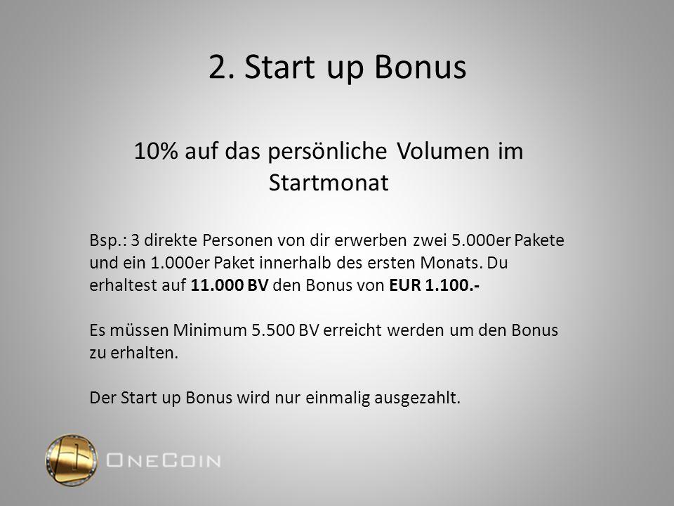 2. Start up Bonus 10% auf das persönliche Volumen im Startmonat Bsp.: 3 direkte Personen von dir erwerben zwei 5.000er Pakete und ein 1.000er Paket in