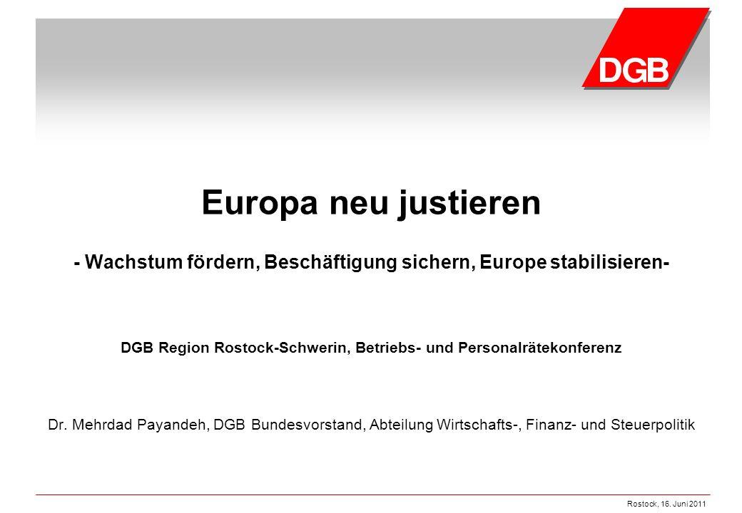 Rostock, 16. Juni 2011 Europa neu justieren - Wachstum fördern, Beschäftigung sichern, Europe stabilisieren- DGB Region Rostock-Schwerin, Betriebs- un
