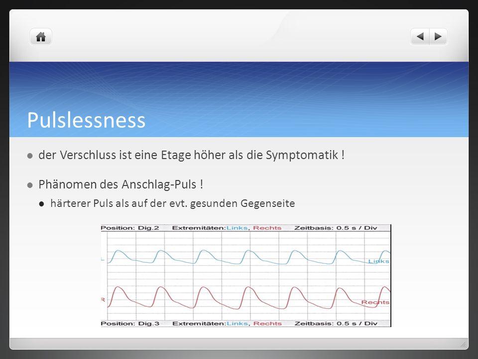 Pulslessness der Verschluss ist eine Etage höher als die Symptomatik .