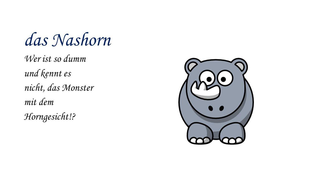 das Nashorn Wer ist so dumm und kennt es nicht, das Monster mit dem Horngesicht!