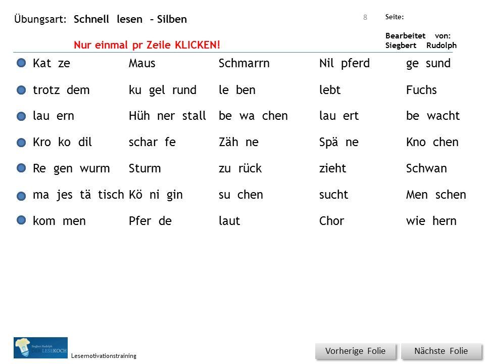 Übungsart: Seite: Bearbeitet von: Siegbert Rudolph Lesemotivationstraining Schnell lesen – Silben Nur einmal pr Zeile KLICKEN! Nächste Folie Vorherige