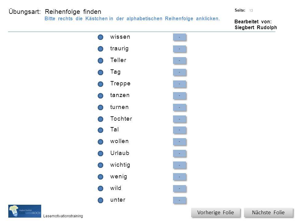 Übungsart: Titel: Quelle: Seite: Bearbeitet von: Siegbert Rudolph Lesemotivationstraining wissen - - traurig - - Teller - - Tag - - Treppe - - tanzen