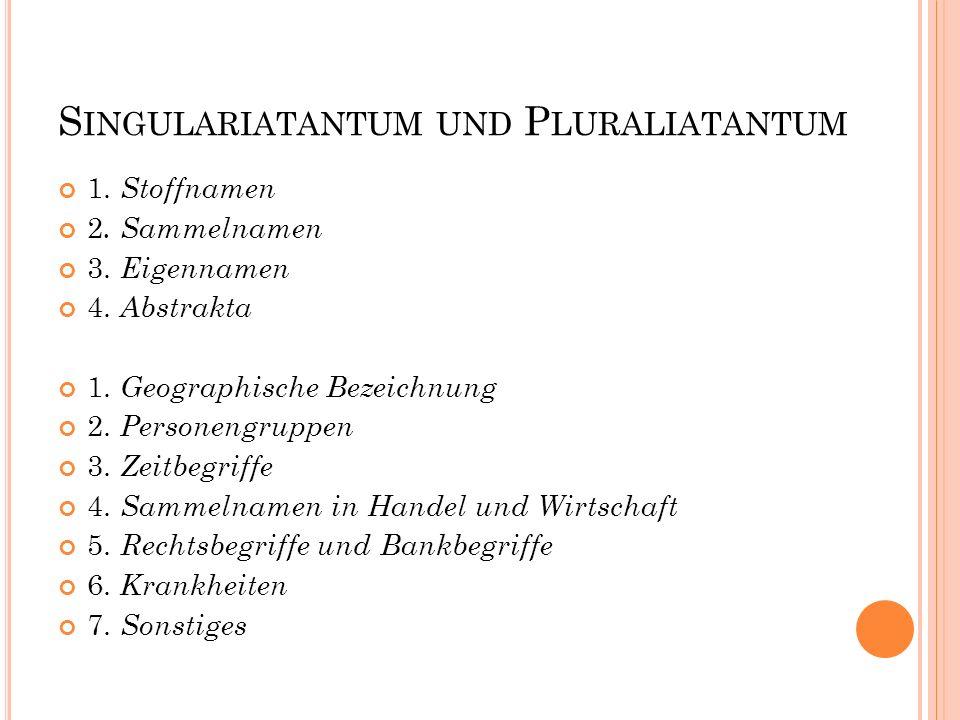S INGULARIATANTUM UND P LURALIATANTUM 1. Stoffnamen 2. Sammelnamen 3. Eigennamen 4. Abstrakta 1. Geographische Bezeichnung 2. Personengruppen 3. Zeitb