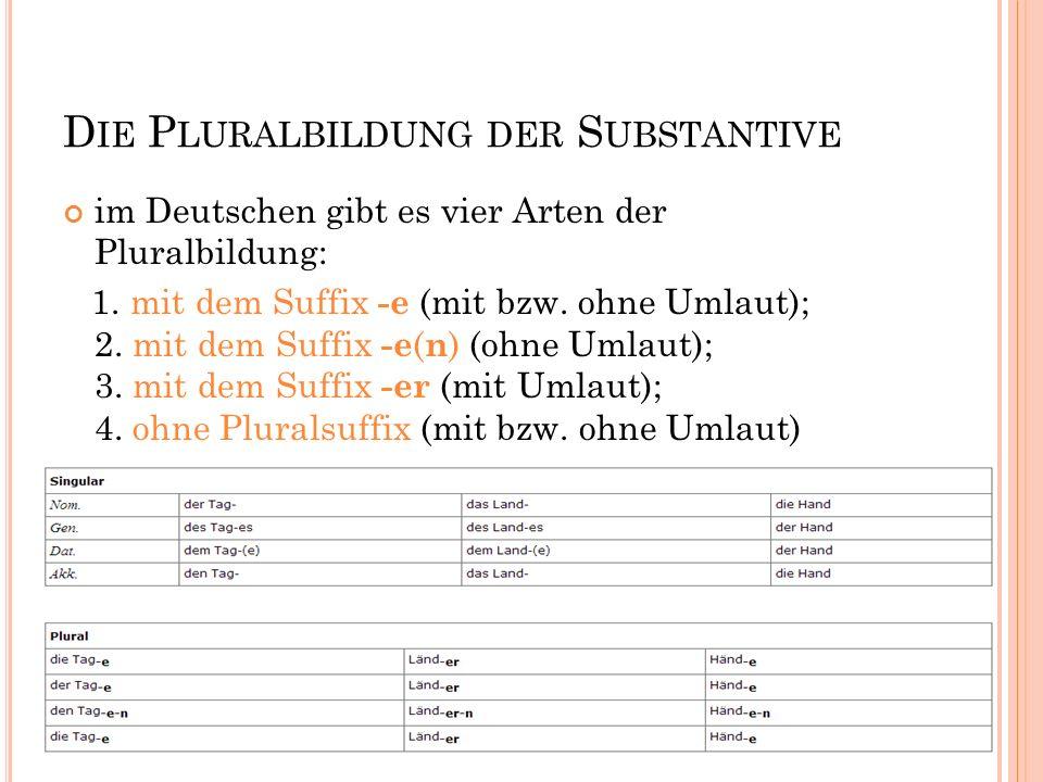D IE P LURALBILDUNG DER S UBSTANTIVE im Deutschen gibt es vier Arten der Pluralbildung: 1. mit dem Suffix -e (mit bzw. ohne Umlaut); 2. mit dem Suffix