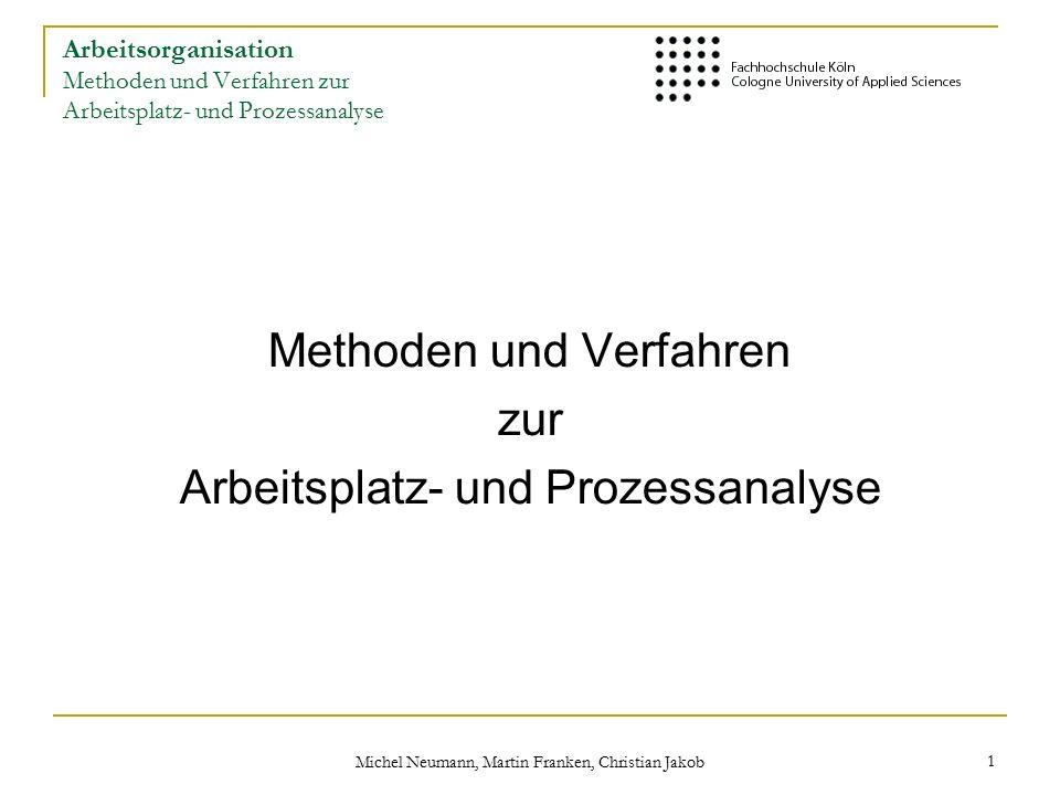Michel Neumann, Martin Franken, Christian Jakob 1 Arbeitsorganisation Methoden und Verfahren zur Arbeitsplatz- und Prozessanalyse Methoden und Verfahren zur Arbeitsplatz- und Prozessanalyse