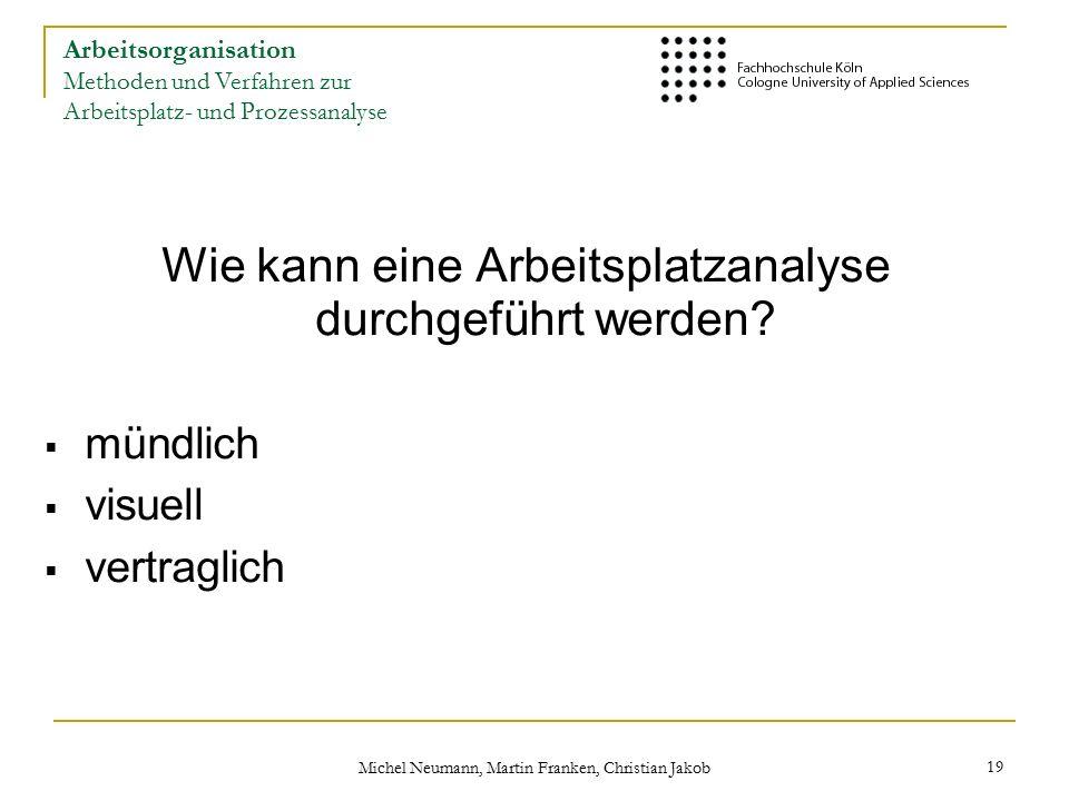 Michel Neumann, Martin Franken, Christian Jakob 19 Wie kann eine Arbeitsplatzanalyse durchgeführt werden.