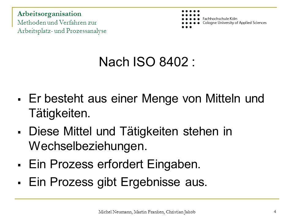 Michel Neumann, Martin Franken, Christian Jakob 15 Arbeitsorganisation Methoden und Verfahren zur Arbeitsplatz- und Prozessanalyse