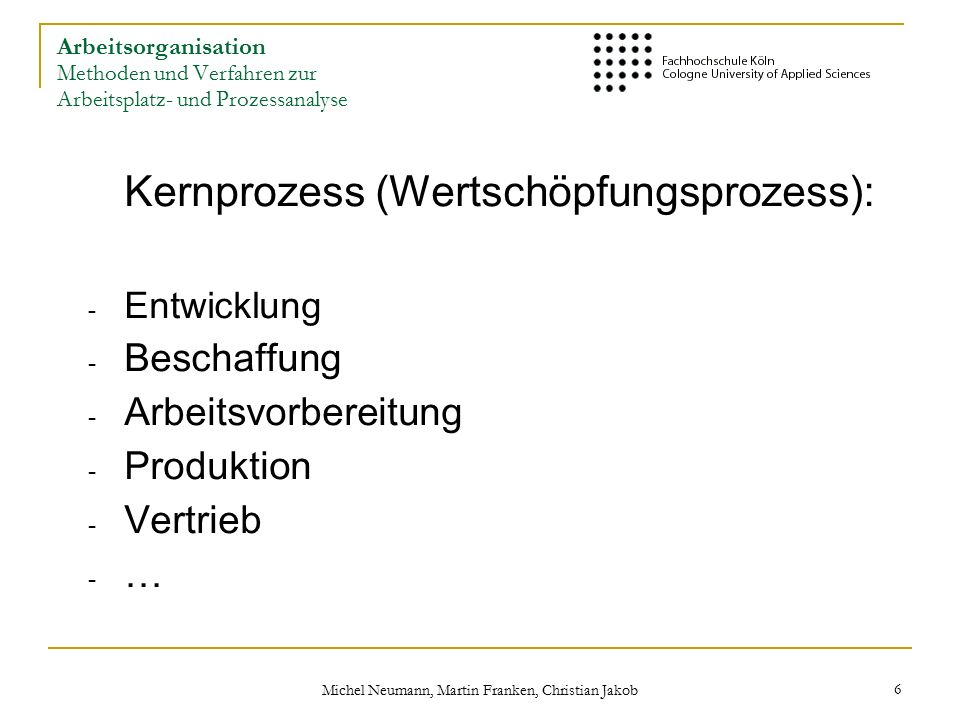 Michel Neumann, Martin Franken, Christian Jakob 17 Was ist Arbeitsplatzanalyse.