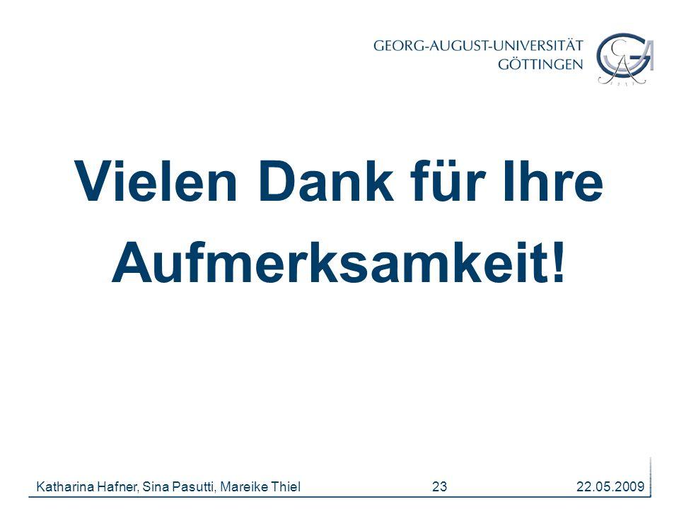 22.05.2009Katharina Hafner, Sina Pasutti, Mareike Thiel 23 Vielen Dank für Ihre Aufmerksamkeit!