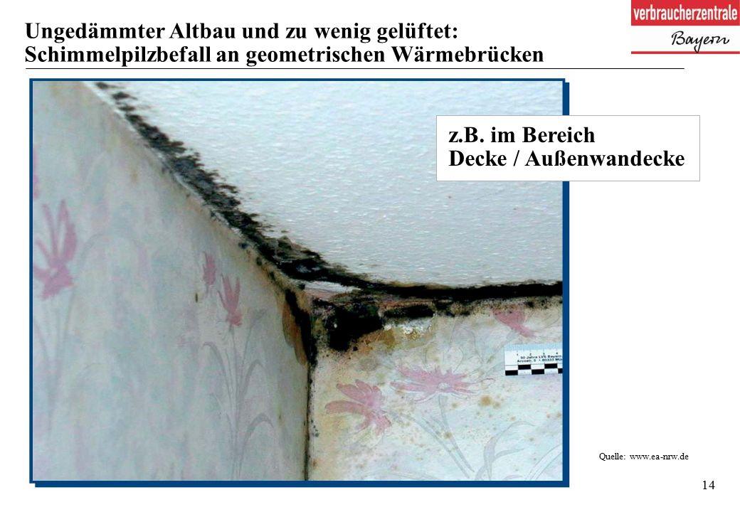 14 Ungedämmter Altbau und zu wenig gelüftet: Schimmelpilzbefall an geometrischen Wärmebrücken Quelle: www.ea-nrw.de z.B.