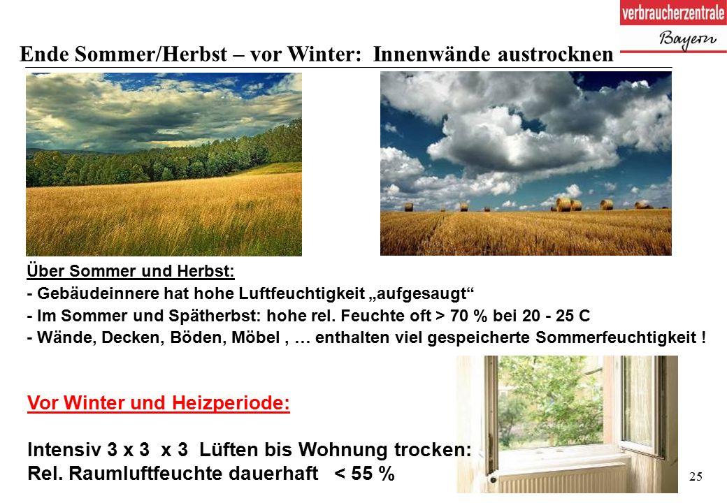 """25 Über Sommer und Herbst: - Gebäudeinnere hat hohe Luftfeuchtigkeit """"aufgesaugt - Im Sommer und Spätherbst: hohe rel."""