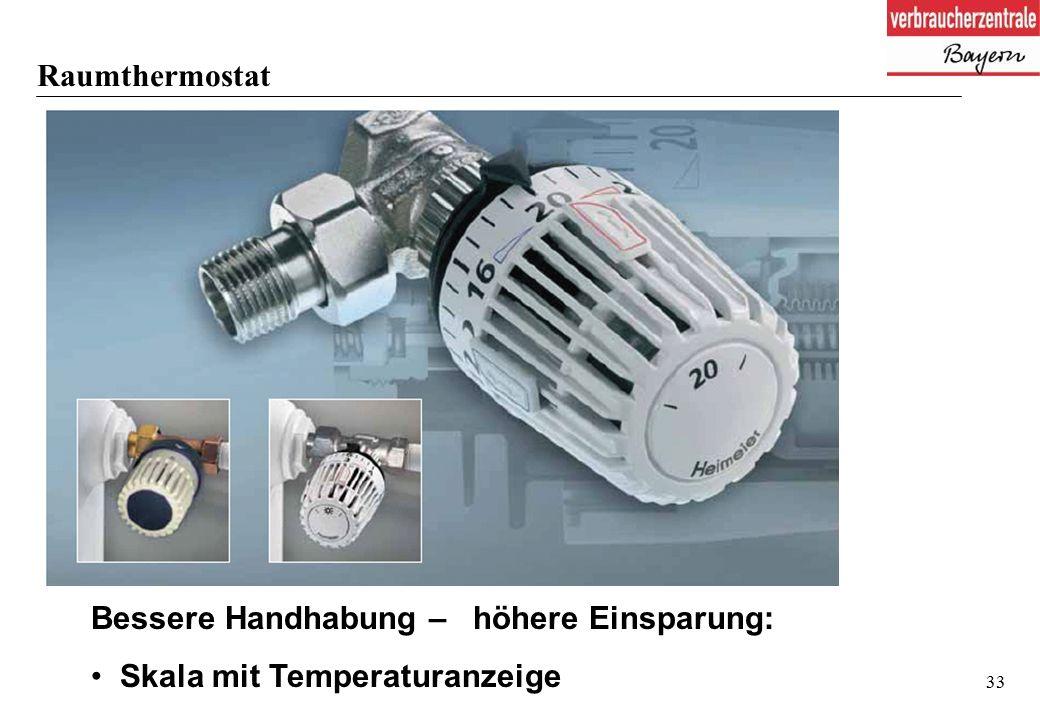 33 Raumthermostat Bessere Handhabung – höhere Einsparung: Skala mit Temperaturanzeige
