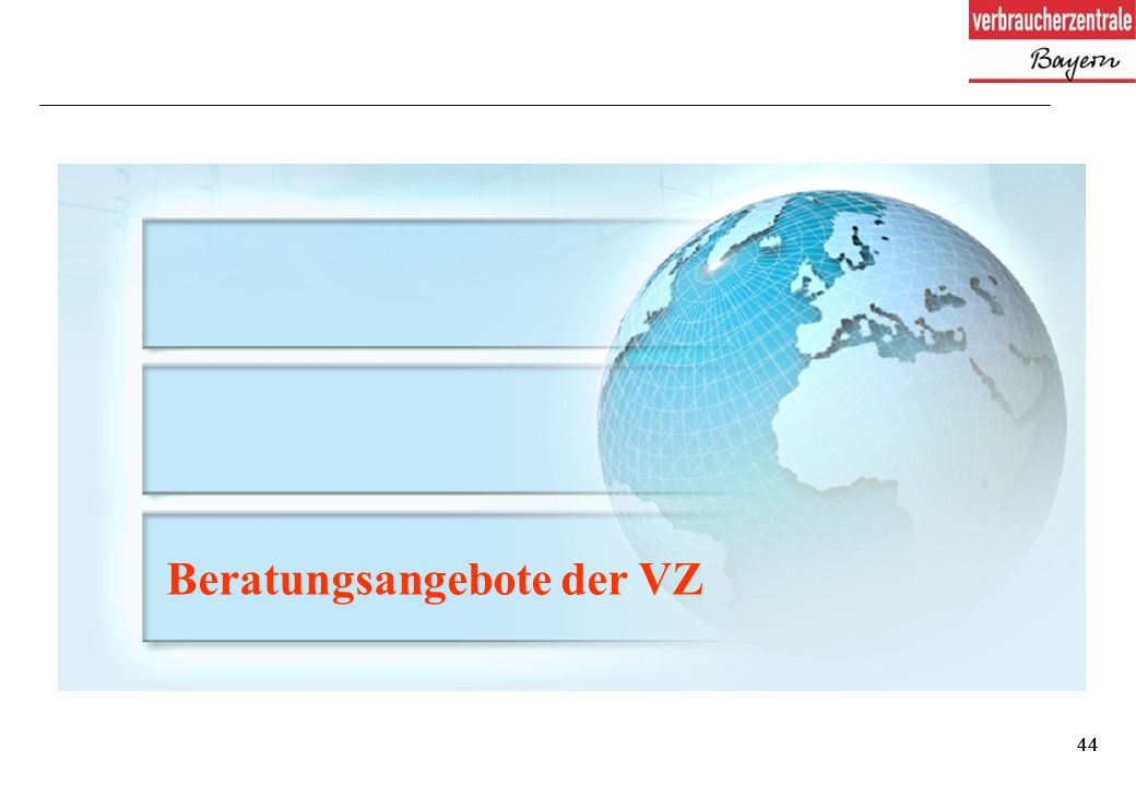 44 Beratungsangebote der VZ