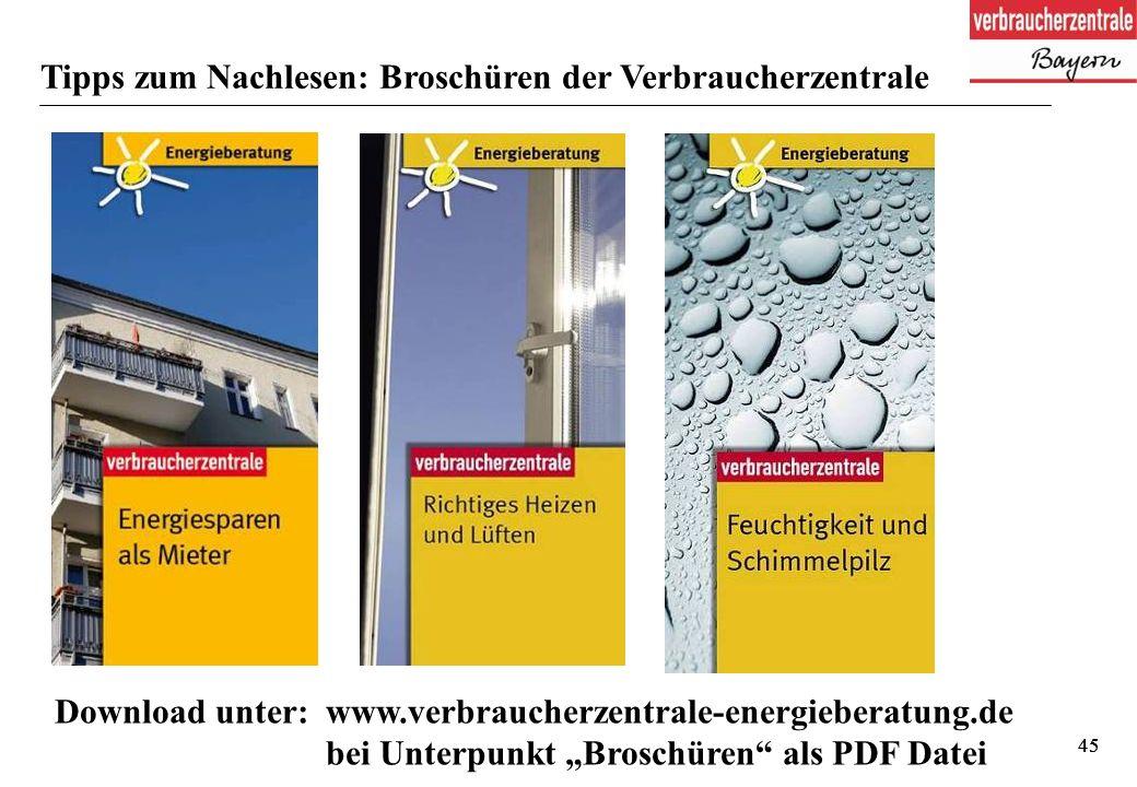 """45 Tipps zum Nachlesen: Broschüren der Verbraucherzentrale Download unter: www.verbraucherzentrale-energieberatung.de bei Unterpunkt """"Broschüren als PDF Datei"""