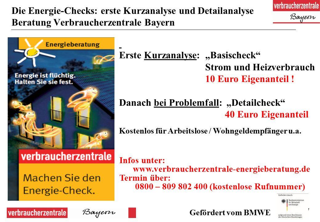 """47 Die Energie-Checks: erste Kurzanalyse und Detailanalyse Beratung Verbraucherzentrale Bayern Erste Kurzanalyse: """"Basischeck Strom und Heizverbrauch 10 Euro Eigenanteil ."""