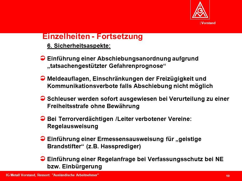 Vorstand 10 IG Metall Vorstand, Ressort: