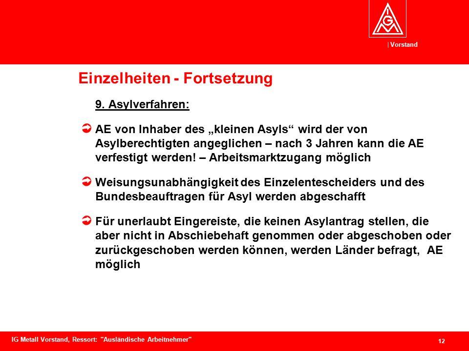 Vorstand 12 IG Metall Vorstand, Ressort: Ausländische Arbeitnehmer Einzelheiten - Fortsetzung 9.