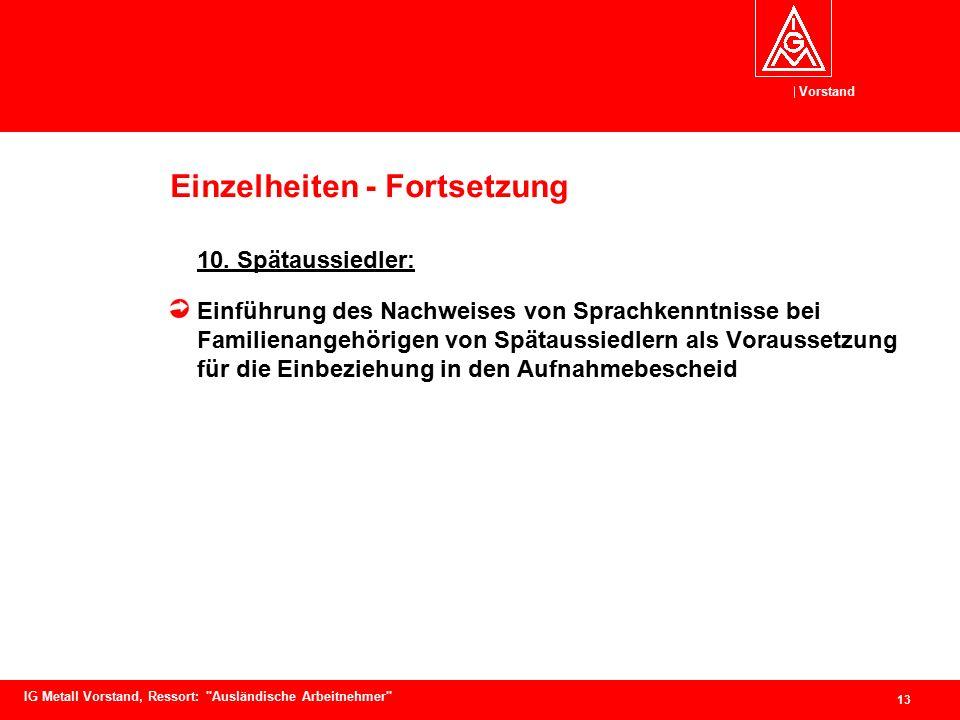 Vorstand 13 IG Metall Vorstand, Ressort: